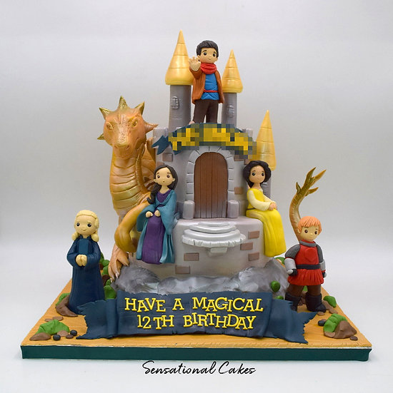 Dragon Castle Children Theme 3D Figurine Customized Cake