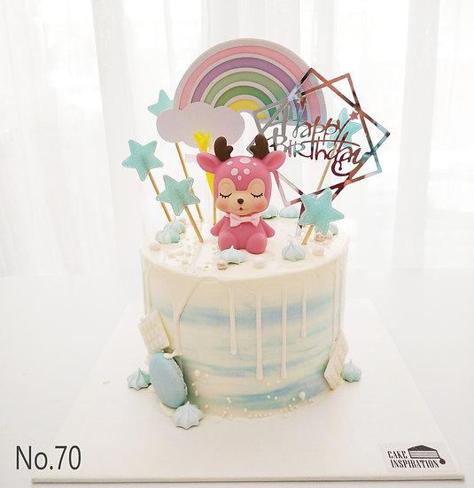 Pink Deer Rainbow Stars Topper Cake ( no.70 ) - 6inch