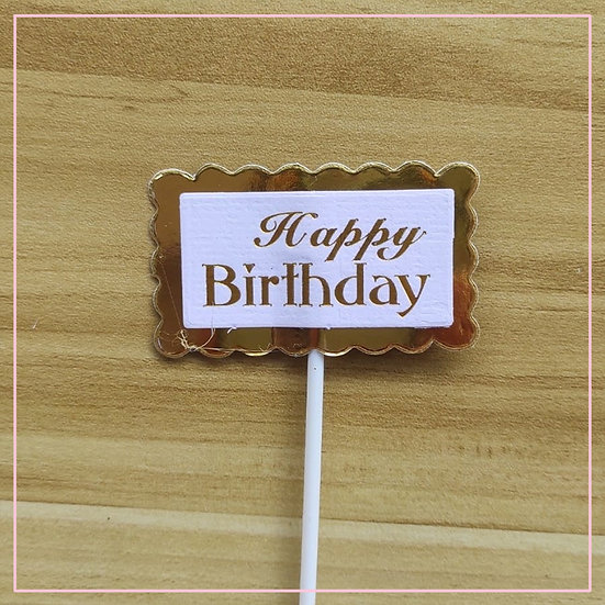 Cake Tag - Rectangle Paper Gold Happy Birthday