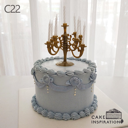 (C22) Light Blue Victorian Style Cake - 6inch