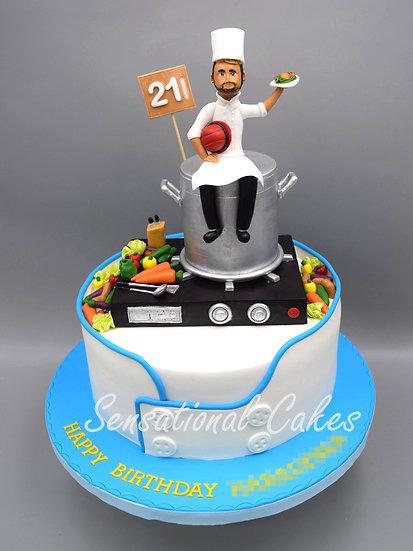 Chef Man Theme 3D Figurine Customized Cake