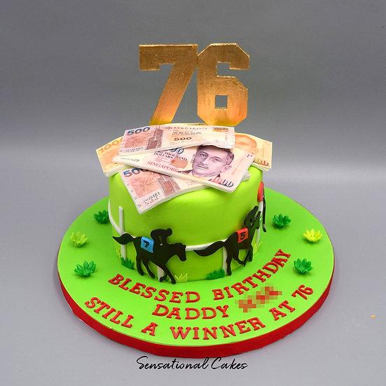 Horse Racing Man Theme 3D Figurine Customized Cake