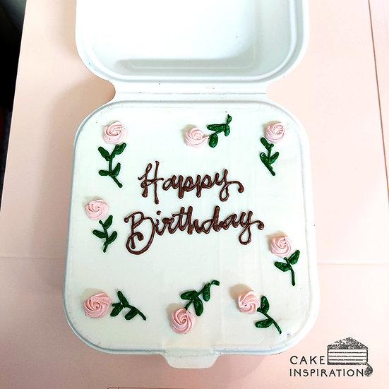 Simple Pink Rose Square Bento Cake (S14)