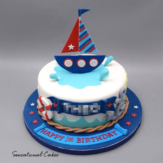 Sailor Boat Children Theme 3D Figurine Customized Cake