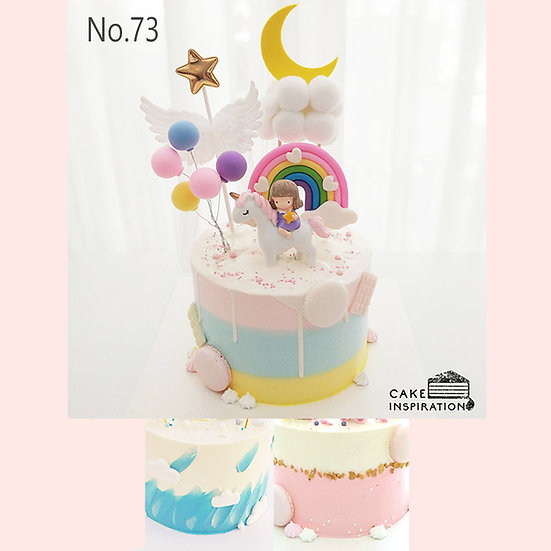 Lovely Girl Unicorn Dreamland Topper Cake ( no.73 ) - 6inch