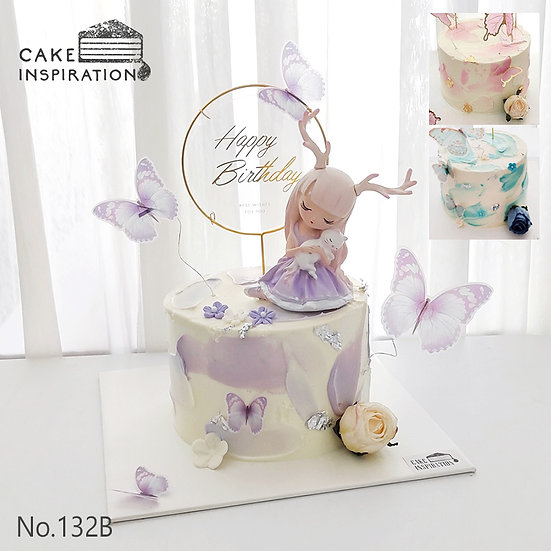 Girl Elf & Cat Butterfly Topper Cake ( no.132B ) - 6inch