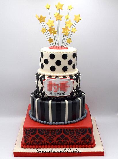 4 Tier Black & Red Man Theme 3D Figurine Customized Cake