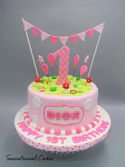 Bunting Pink Polka Dots Children 3D Figurine Customized Cake