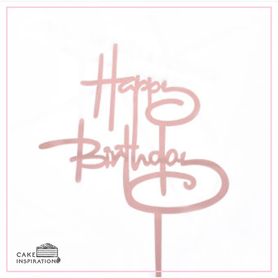 Happy Birthday - Acrylic Tag - Pink Cursive Writing
