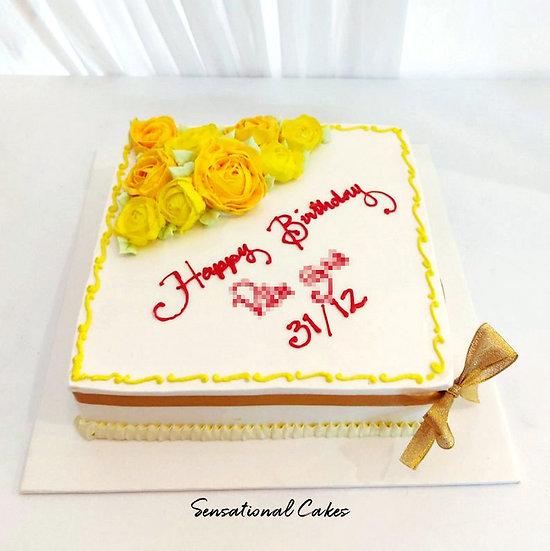 Yellow Rosette Customized Group Cake