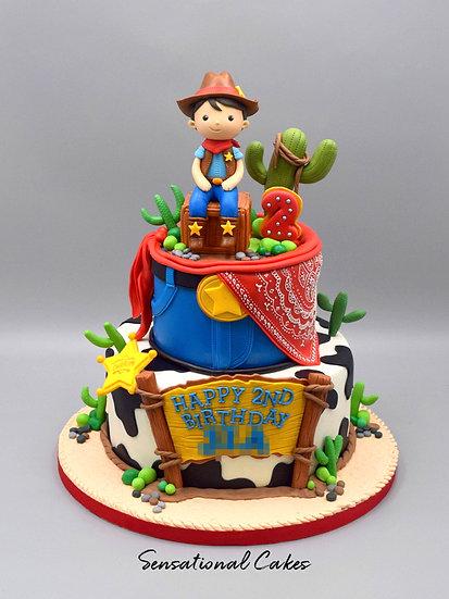 Cowboy Story Toy Children Theme 3D Figurine Customized Cake