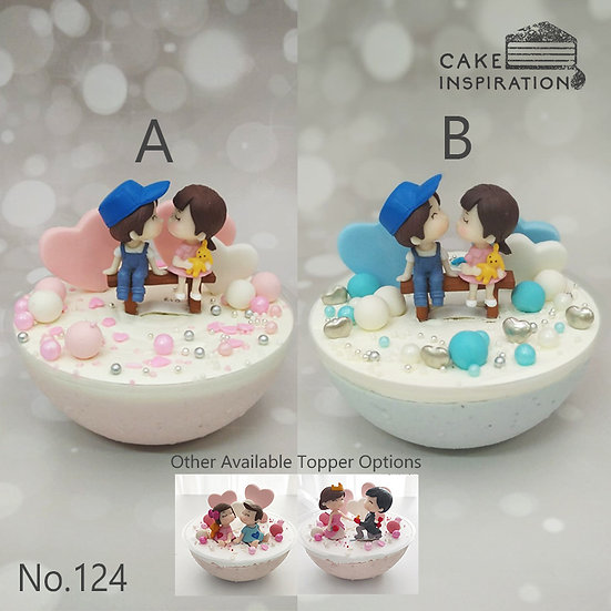 Lovely Couple Hearts Topper Sphere Cake ( no.124 )