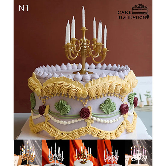 (N1) Elegant Colorful Victorian Style Cake - 6inch