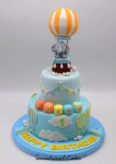 Hot Air Balloon Children Theme 3D Figurine Customized Cake
