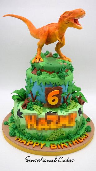 Dinosaur Children Theme 3D Figurine Customized Cake
