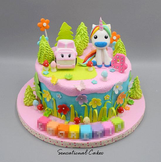 Car & Unicorn Garden Children 3D Figurine Customized Cake