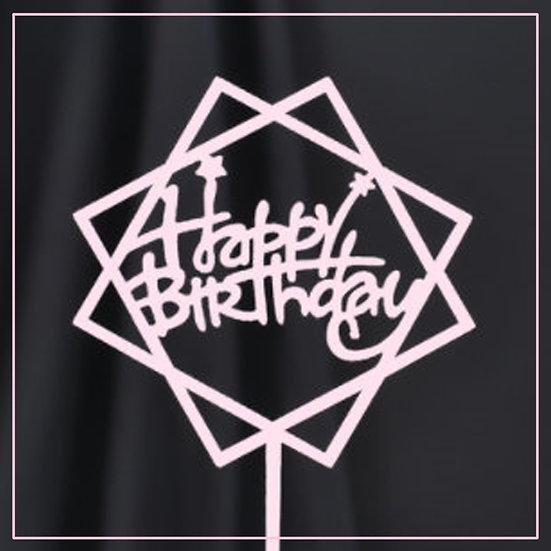 Cake tag - metallic - pink - hex - happy birthday