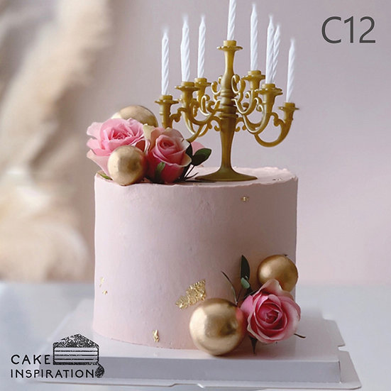 (C12) Flora Pink & Gold Classic Style Cake - 6inch