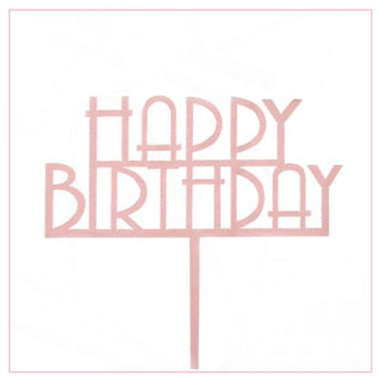 Happy Birthday - Acrylic Tag - Pink Straight Writing