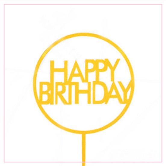 Happy Birthday - Acrylic Tag - Gold Simple Circle