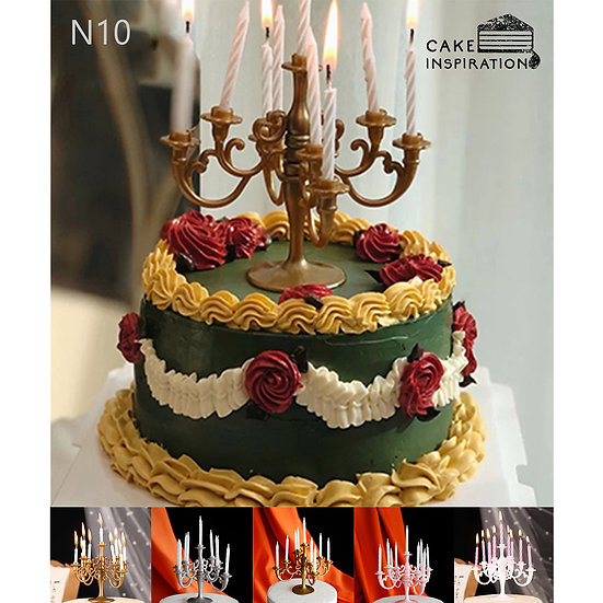 (N10)  Green Flora Victorian Style Cake - 6inch