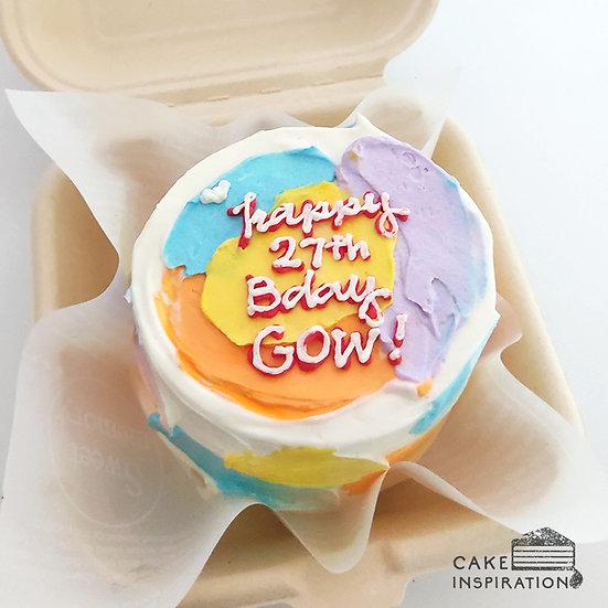Colorful Bright Strokes Round Bento Cake (R07)
