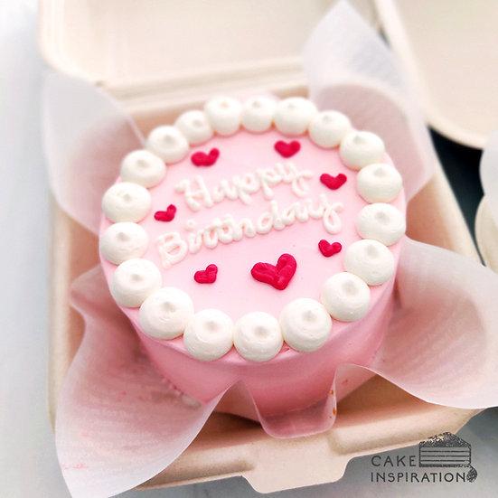 Pink Pastel Heart Round Bento Cake (R19)