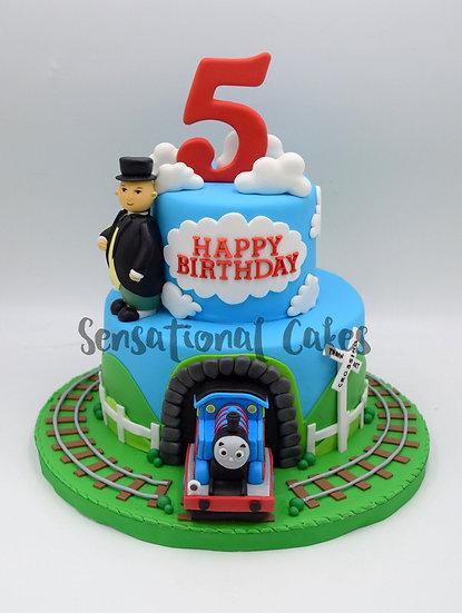 Tunnel Train Children Theme 3D Figurine Customized Cake