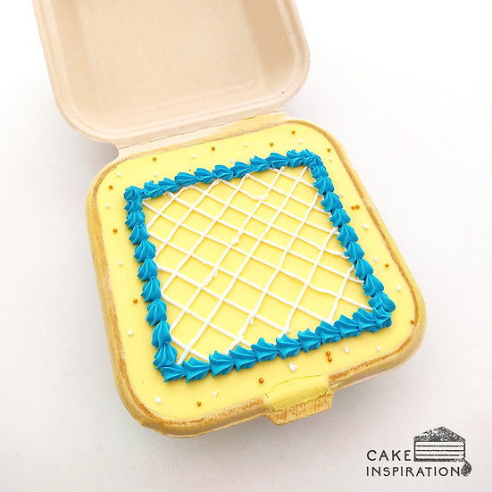 Simple Lines in Yellow Square Bento Cake (S11)