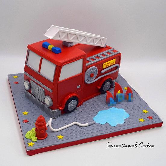 Fire Truck Children Theme 3D Figurine Customized Cake