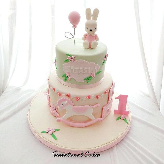 Pastel Bunny Design Children 3D Figurine Customized Cake