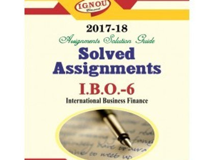 IBO-06 english IGNOU SOLVED ASSIGNMENTS 2017-18