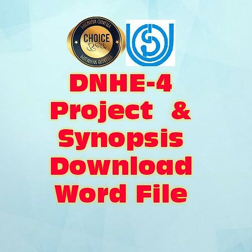 DNHE-4 PROJECT & SYNOPSIS Nutrition Education In Improving The Nutritional