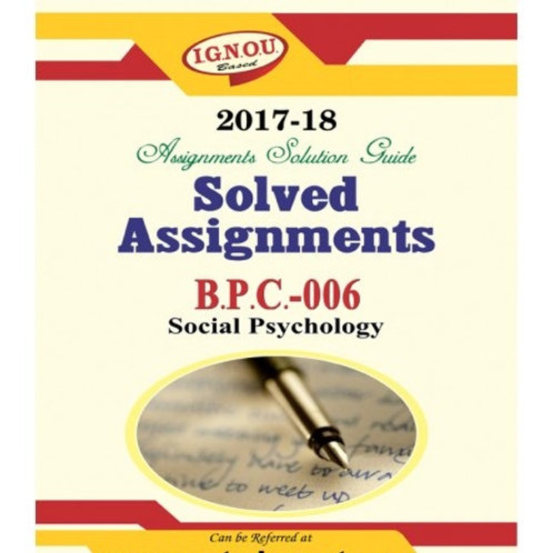 BPC-06 IGNOU SOLVED ASSIGNMENTS 2017-18
