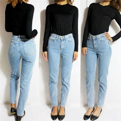 Wholesale Vintage High Waist Jeans Women Denim Pants 2016 New Slim Pencil Pants Capris Trousers Fits
