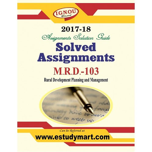 MRD-103 ENGLISH IGNOU SOLVED ASSIGNMENTS 2017-18