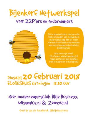 Bijenkorf Netwerkspel voor ZZP'ers en ondernemers - Din 20 februari 19.30 uur Floreshuis Groning