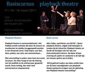 Basiscursus Playback Theatre 2017 - 17, 18, 19 maart