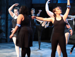 """Ballet dancers balance onstage at the end of """"Control""""."""