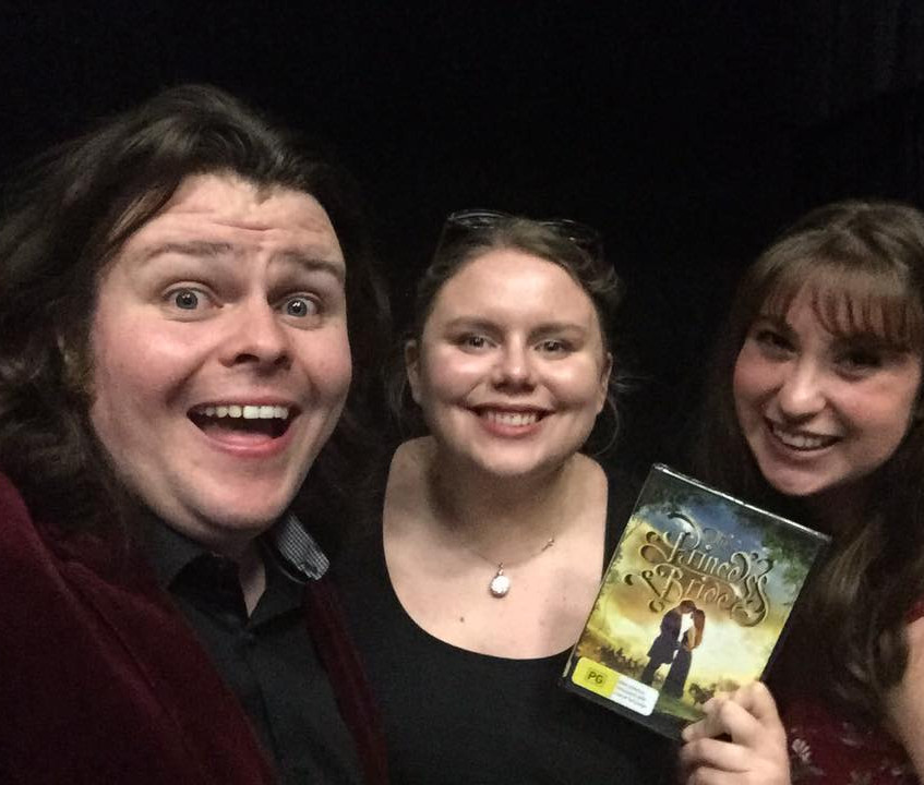 """CCUC Host Stephen Platt with his special guests Kate Willoughby and Nicola Brescianini who reviewed """"The Princess Bride"""" in our first ever podcast recording with a live audience!"""