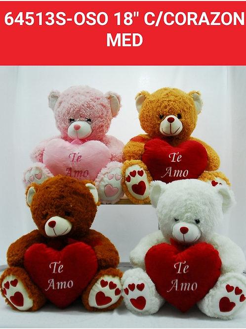 Peluche oso c/corazón art.64513 S
