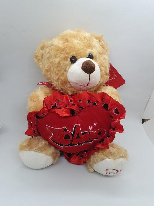 Peluche oso c/corazón art.12122