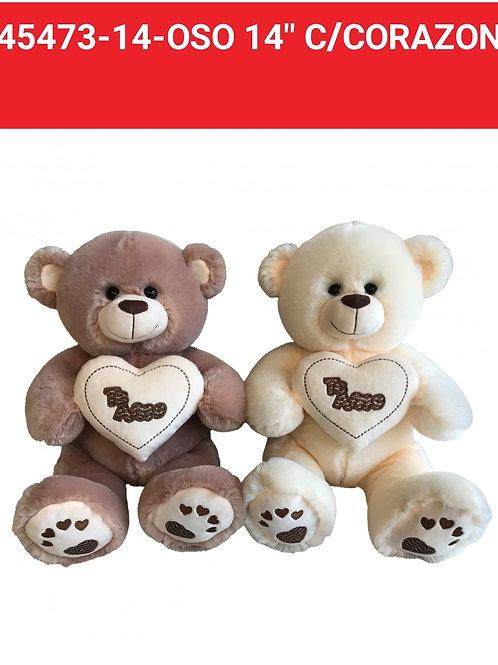 Peluche oso c/corazón art.45473-14