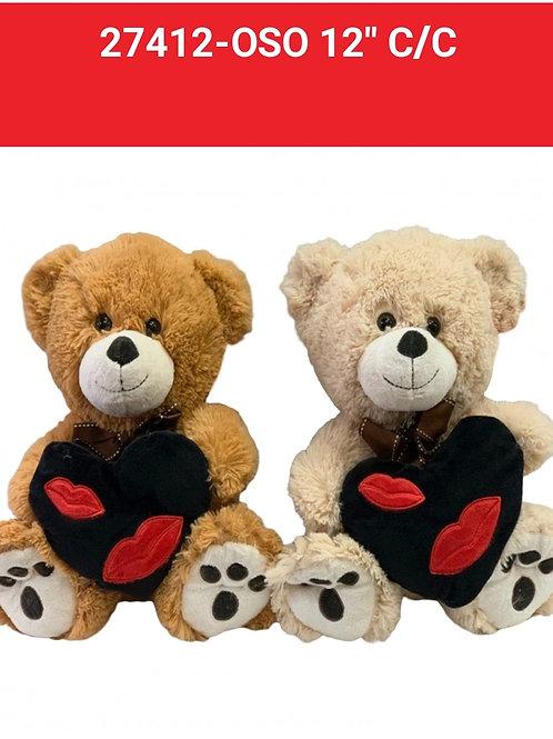 Peluche oso c/corazón art.27412