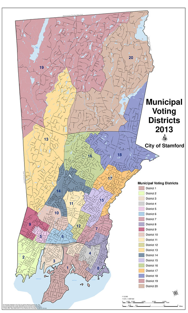 Stamford Board of Representatives Muncipal Voting Districts