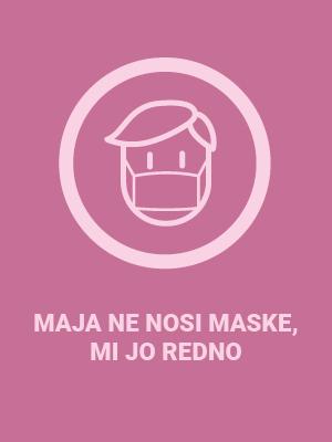 Z uporabo maske v zaprtih prostorih zaščitimo sebe in druge. Tudi Majo.
