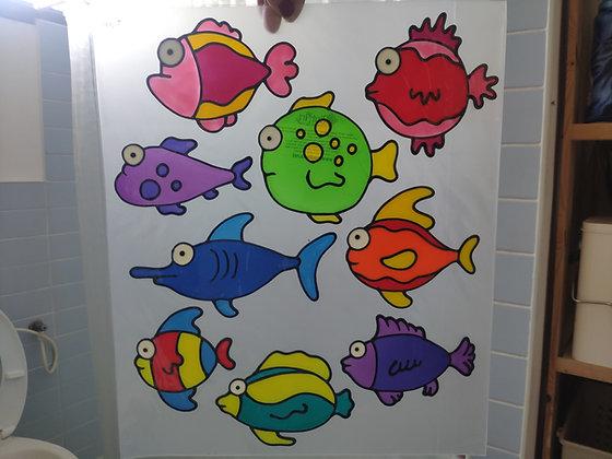 סט 9 דגים צבעוניים