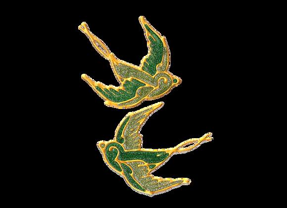 ציפורים ירוקות נוצצות