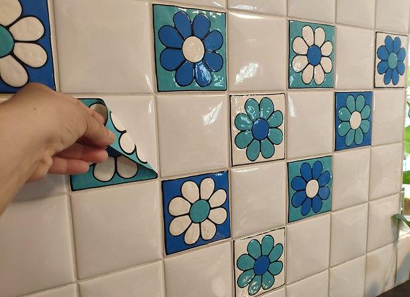10 מדבקות בסגנון רטרו כחול