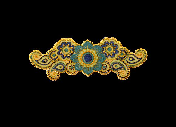 עיטור פרחים כחול נוצץ